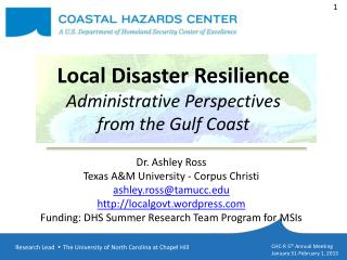 Local Disaster Resilience  Administrative Perspectives  from the Gulf Coast