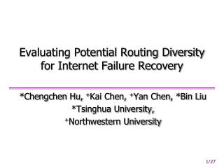 Evaluating Potential Routing Diversity for Internet Failure Recovery