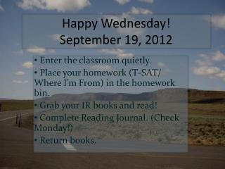 Happy Wednesday!  September 19, 2012