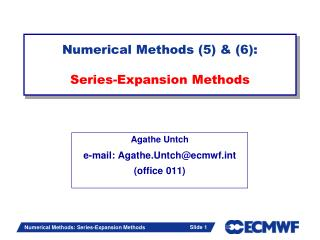 Numerical Methods (5) & (6): Series-Expansion  Methods
