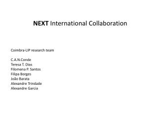 NEXT International Collaboration