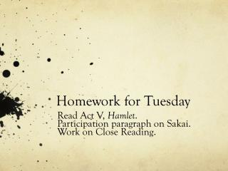 Homework for Tuesday