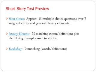 Short Story Test Preview