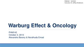 Warburg Effect & Oncology