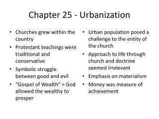 Chapter 25 - Urbanization