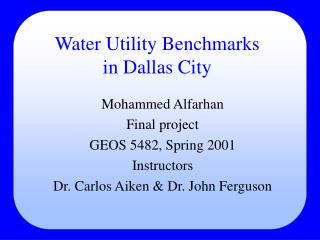 Water Utility Benchmarks in Dallas City