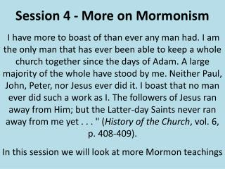 Session 4 - More on Mormonism
