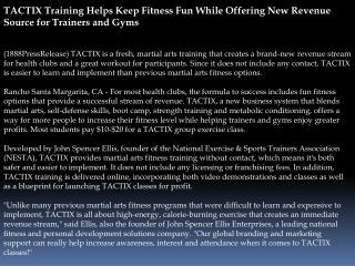 TACTIX Training Helps Keep Fitness Fun While Offering New Re