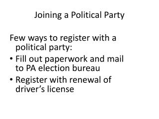 Joining a Political Party
