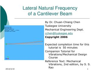 Lateral Natural Frequency of a Cantilever Beam
