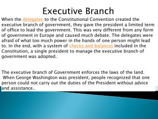The parts of the Executive branch