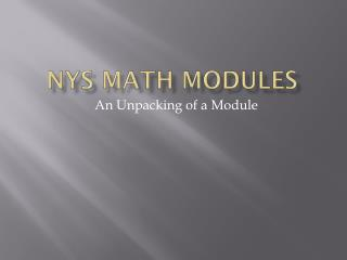 NYS Math Modules