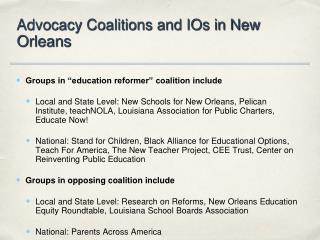 Advocacy Coalitions and IOs in New  Orleans