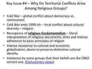 Key Issue #4 – Why Do Territorial Conflicts Arise Among Religious Groups?