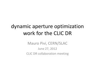 dynamic aperture optimization work for the CLIC DR