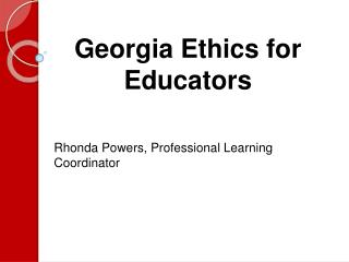 Georgia Ethics for Educators