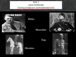 WW 2  Axis Powers Totalitarian Governments