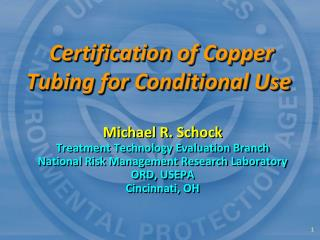 Certification of Copper Tubing for Conditional Use