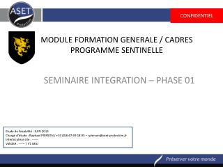MODULE FORMATION  GENERALE / CADRES PROGRAMME SENTINELLE