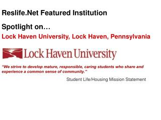 Lock Haven University, Lock Haven, Pennsylvania