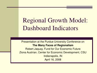 Regional Growth Model:  Dashboard Indicators