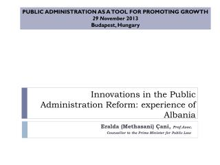 Innovations in the Public Administration Reform: experience of Albania