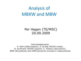 Analysis of  MBXW and MBW