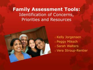 Family  Assessment Tools:  Identification  of  Concerns ,  Priorities  and  Resources