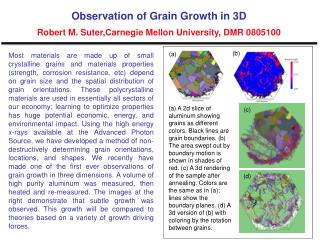 Observation of Grain Growth in 3D Robert M. Suter,Carnegie Mellon University, DMR 0805100