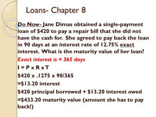 Loans- Chapter 8
