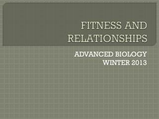 FITNESS AND RELATIONSHIPS