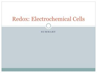 Redox : Electrochemical Cells