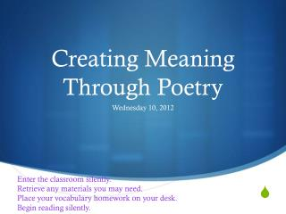 Creating Meaning Through Poetry