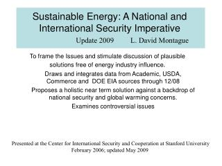 Sustainable Energy: A National and International Security Imperative