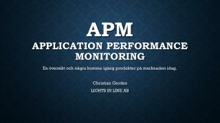APM Application performance Monitoring