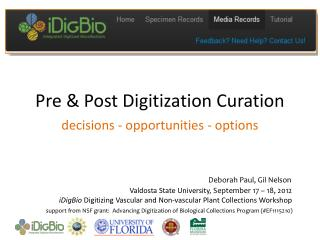 Pre & Post Digitization Curation