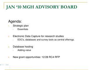 Jan '10 MGH Advisory Board
