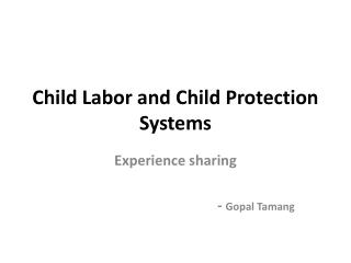Child Labor and Child Protection Systems