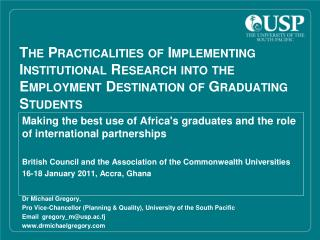 Making the best use of Africa's graduates and the role of international partnerships