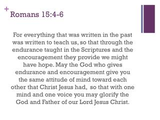 Romans 15:4-6