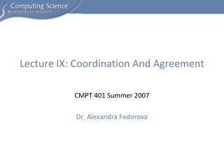 Lecture IX: Coordination And Agreement