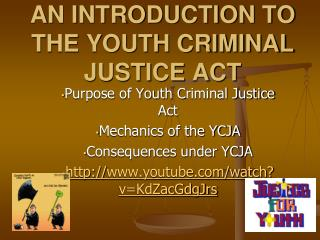 AN INTRODUCTION TO THE YOUTH CRIMINAL JUSTICE ACT