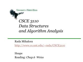CSCE 3110 Data Structures  and Algorithm Analysis