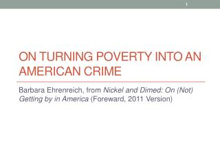 On turning poverty into an american crime