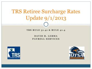 TRS Retiree Surcharge Rates  Update 9/1/2013