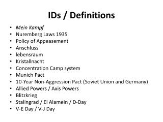 IDs / Definitions