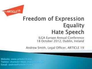 Freedom of Expression Equality  Hate Speech