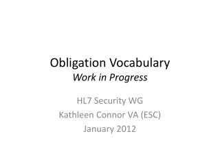 Obligation  Vocabulary Work in Progress