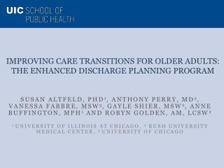 Improving Care Transitions for Older Adults:  The  Enhanced Discharge Planning  Program
