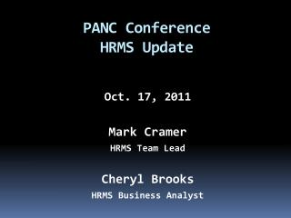 PANC Conference HRMS Update